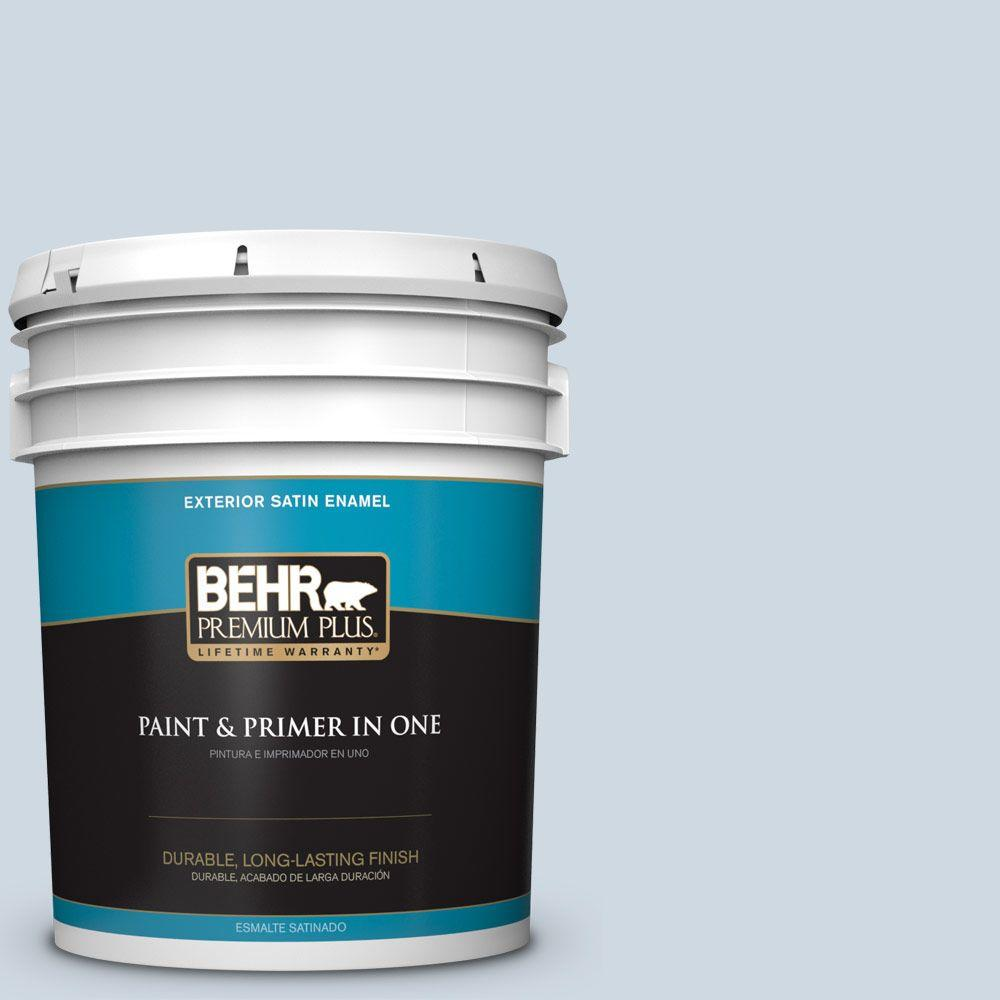 BEHR Premium Plus 5-gal. #S520-1 Pale Cornflower Satin Enamel Exterior Paint