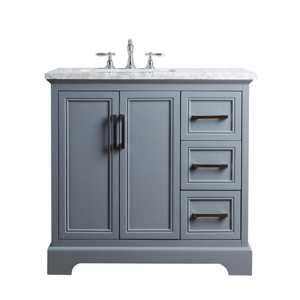 stufurhome 36 in. ariane single sink vanity in gray with