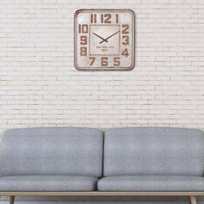 Galvanized Metal Retro Industrial Silver Wall Clock