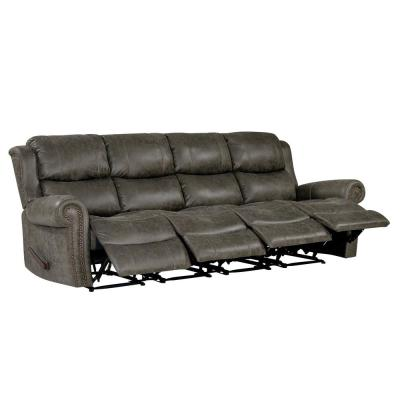 Distressed Fog Gray Faux Leather 4-Seat Rolled Arm Wall Hugger Recliner Sofa