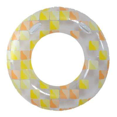 47 in. Yellow and Orange Inflatable Inner Tube Float with Handles