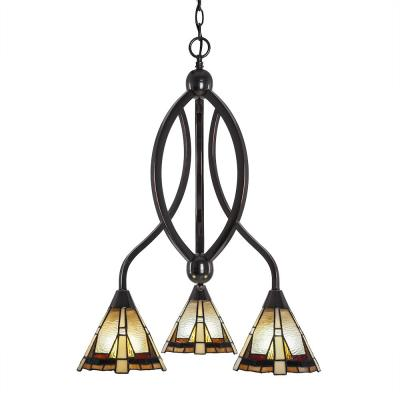 3-Light Black Copper Chandelier with 7 in. Zion TiffGlass Glass