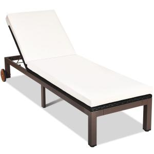 Brown Back Adjustable Rattan Wicker Outdoor Patio Lounge Chair Chaise Recliner with Beige Cushions