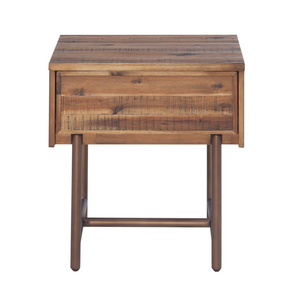 Bushwick 1-Drawer Brown Accacia Wood Nighstand