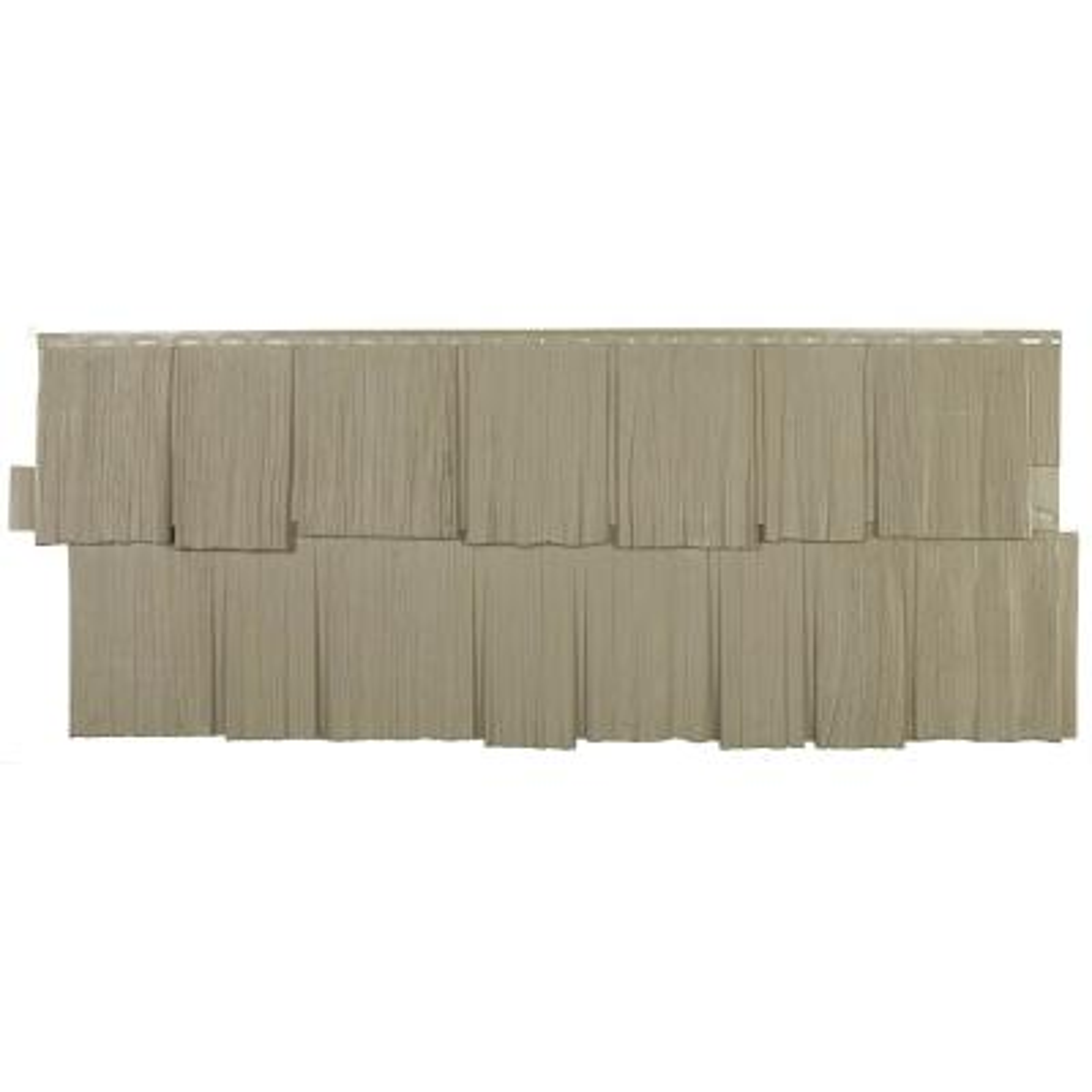 Shake HS - 18.75 in. x 48.38 in. Hand-Split Shake in Khaki (49.36 sq. ft. per Box) Plastic Shake Vinyl Siding