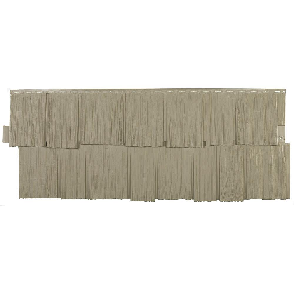 Shake HS - 18.75 in. x 48.38 in. Hand-Split Shake in Khaki (49.36 sq. ft. per Box) Plastic Shake Siding