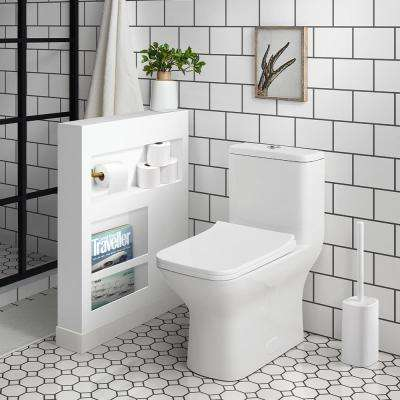Carre 1-Piece 0.8/1.28 GPF Dual Flush Square Toilet in White, Seat Included
