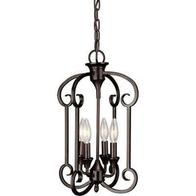 William 4-Light Antique Bronze Chandelier
