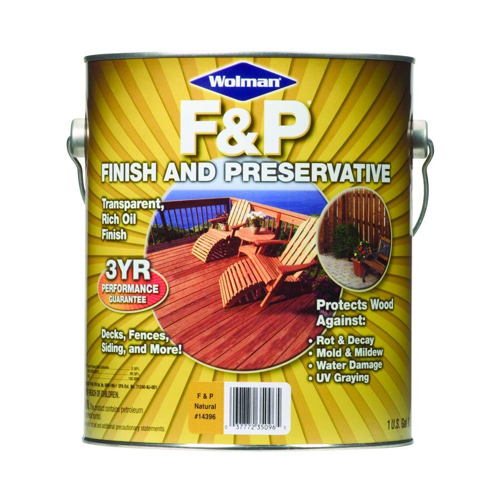 F&P Finish & Preservative 1-gal. Oil-Based Natural Deep-Penetrating Transparent Exterior Wood Stain-DISCONTINUED