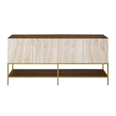 Terra Soft Brass and Faux Marble Entertainment Unit