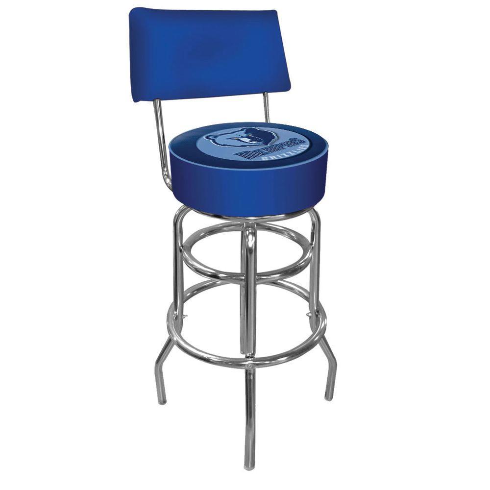 Trademark Memphis Grizzlies NBA 30 in. Chrome Padded Swivel Bar Stool