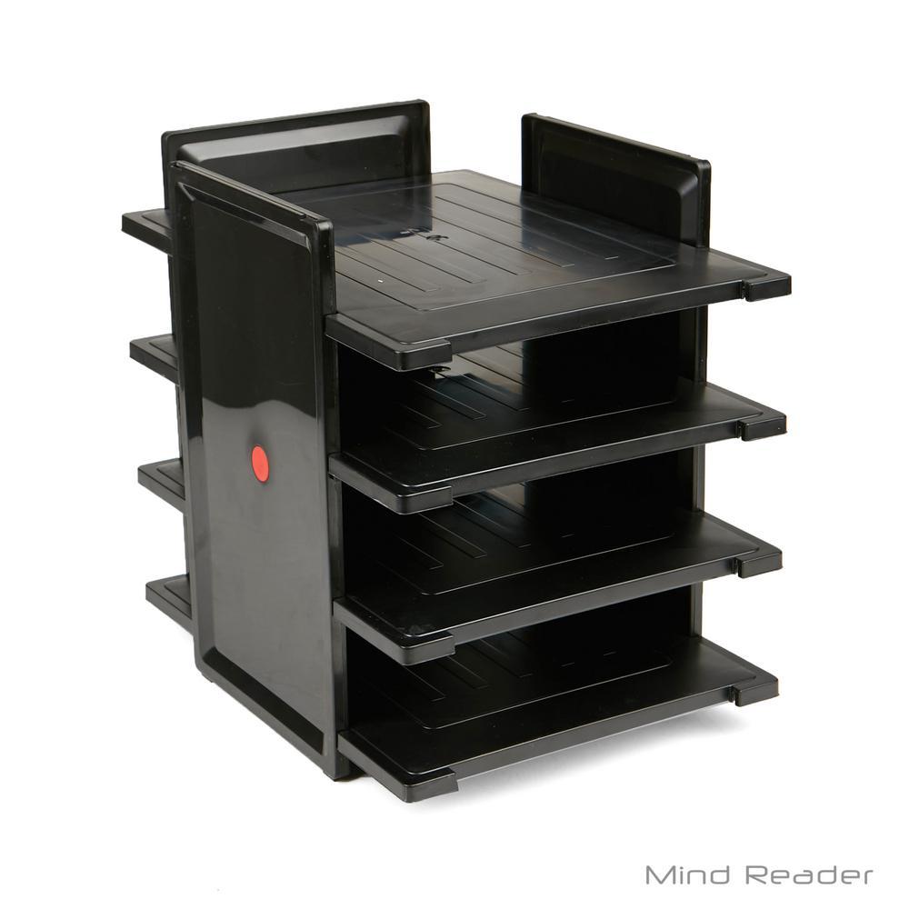 4-Tier Desktop Document and Folder Tray Organizer, Black