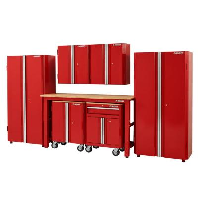 145 in. W x 98 in. H x 24 in. D Steel Garage Cabinet Set in Red (7-Piece)