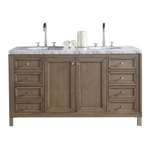 James Martin Signature Vanities Chicago 60 inch W Double Vanity in Whitewashed Walnut with Marble Vanity Top in Carrara... by James Martin Signature Vanities