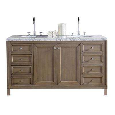 Chicago 60 in. W Double Vanity in Whitewashed Walnut with Marble Vanity Top in Carrara White with White Basin