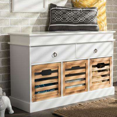 White and Natural Wood Bench