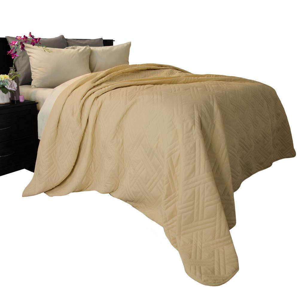 Lavish home solid color taupe twin bed quilt