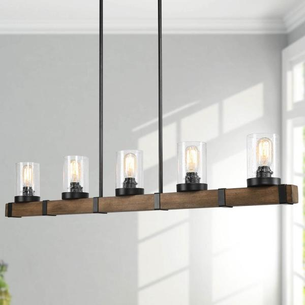 Modern Farmhouse Chandelier Lighting 5-Light Black Rustic Wood Beam Chandelier Pendant Light with Seeded Glass Shade
