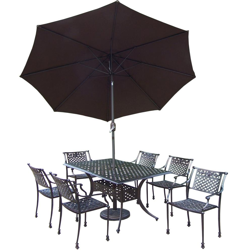 9-Piece Outdoor Dining Set with Rectangular Table 6 Cast Aluminum Chairs Metal Umbrella and Stand