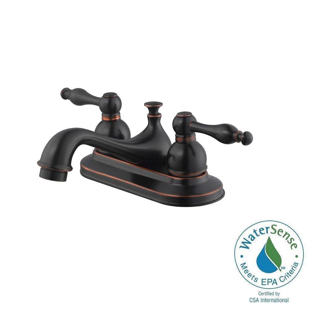 Saratoga 4 in. Centerset 2-Handle Bathroom Faucet in Oil Rubbed Bronze
