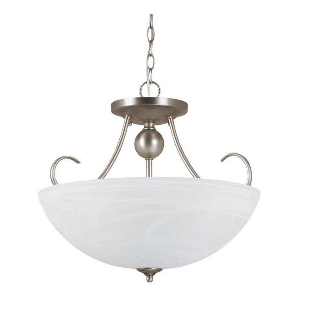 Sea Gull Lighting Lemont 3-Light Antique Brushed Nickel Convertible Indoor Semi-Flush Mount Light