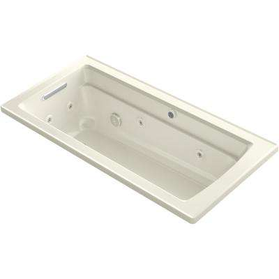 Archer 66 in. Rectangular Drop-in Whirlpool and Air Bath Bathtub in Biscuit