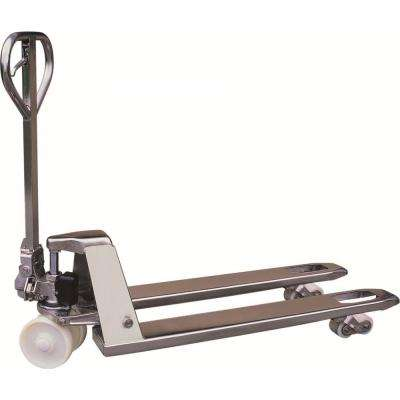 304 Stainless Steel 4400 lbs. 27 in. x 48 in. Manual Pallet Truck German Seal System with Nylon Wheels