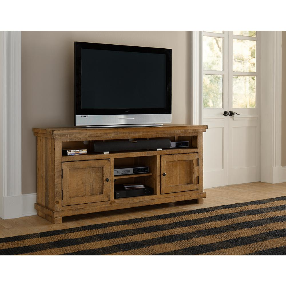 Willow 64 in. Distressed Pine Wood TV Stand Fits TVs Up to 70 in. with Storage Doors