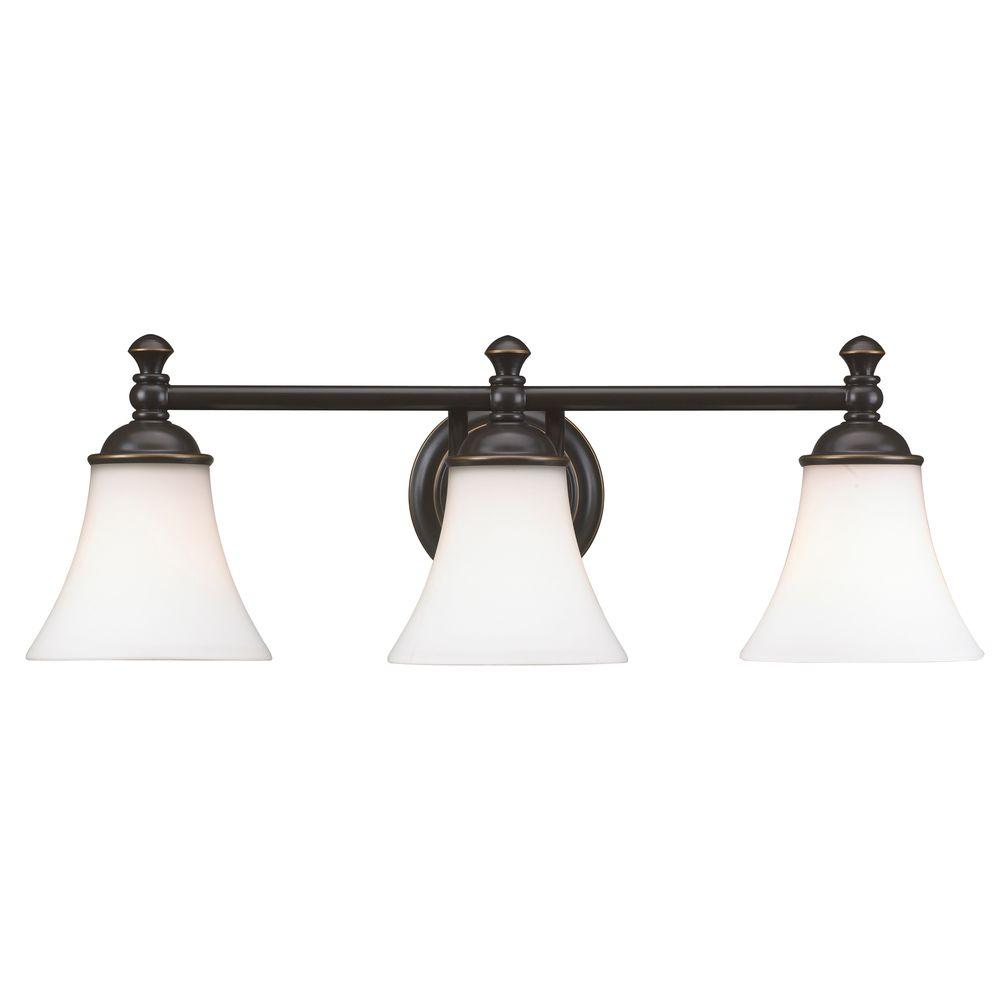 Hampton Bay Crawley 3 Light Oil Rubbed Bronze Vanity With White Glass Shades