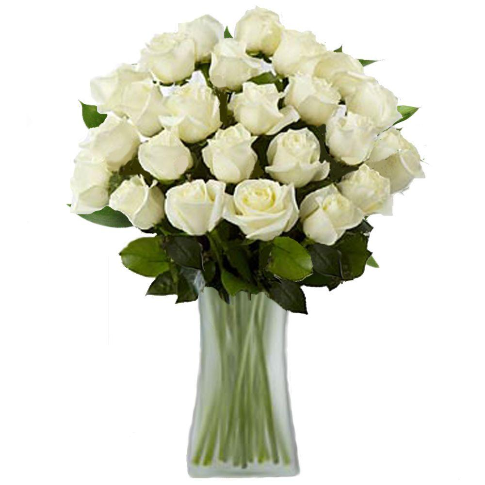 The ultimate bouquet gorgeous white rose bouquet in a clear vase 24 the ultimate bouquet gorgeous white rose bouquet in a clear vase 24 long stem izmirmasajfo