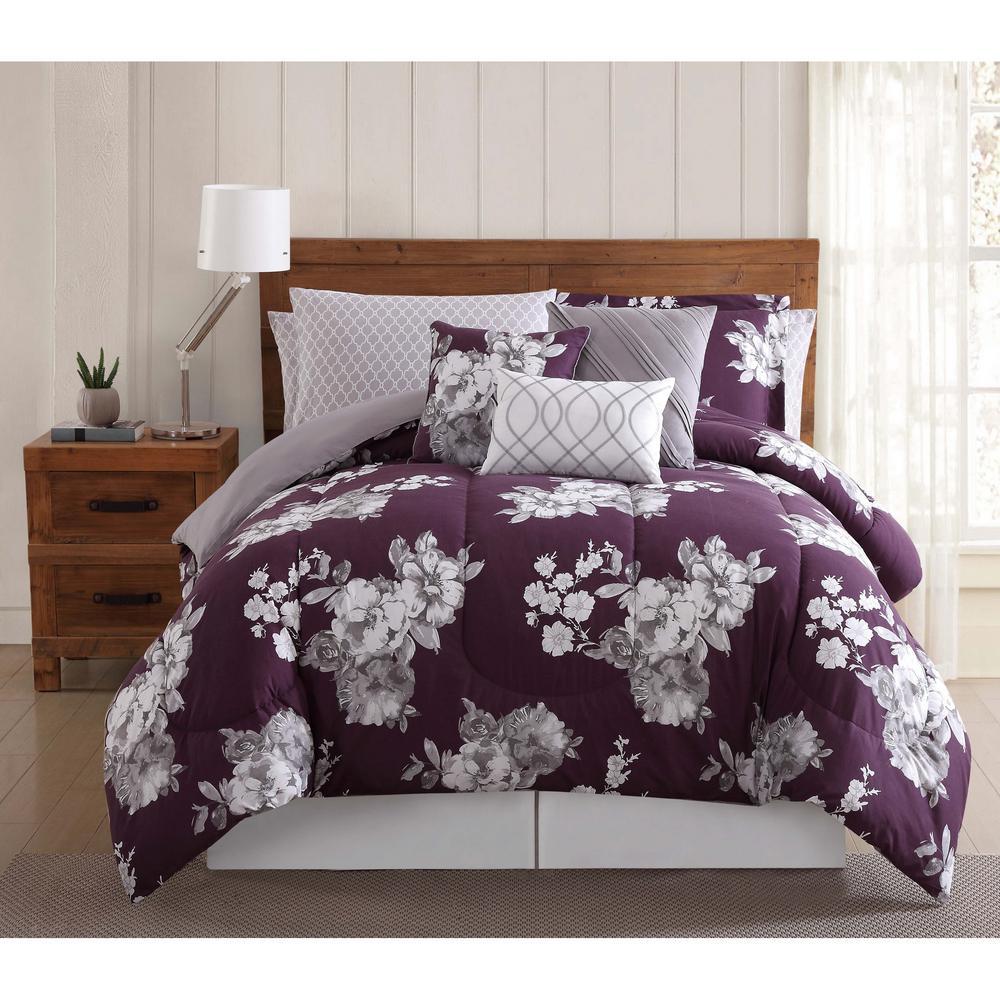 Peony 12-Piece Purple Floral King Comforter Set