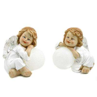Christmas Angels with Illuminated Snowballs Set of 2
