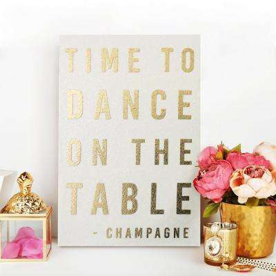 """24 in. x 16 in. """"Dance on the Table"""" by Wynwood Studio Framed Printed White Glitter Canvas Wall Art"""
