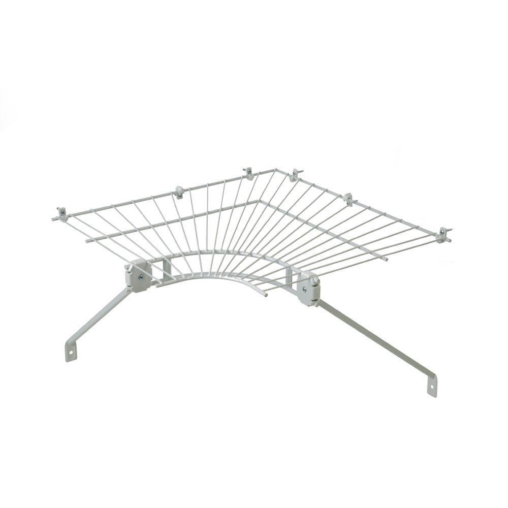 closetmaid ventilated wire corner shelf for 16 in  shelf and rod shelving-21067