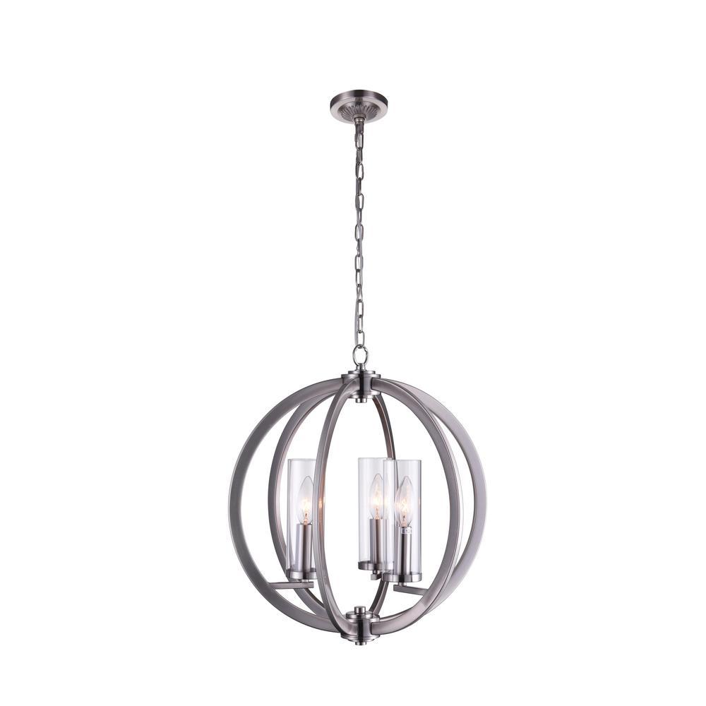CWI Lighting Elton 3-Light Satin Nickel Chandelier