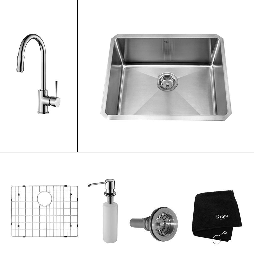All-in-One Undermount Stainless Steel 23 in. Single Bowl Kitchen Sink with