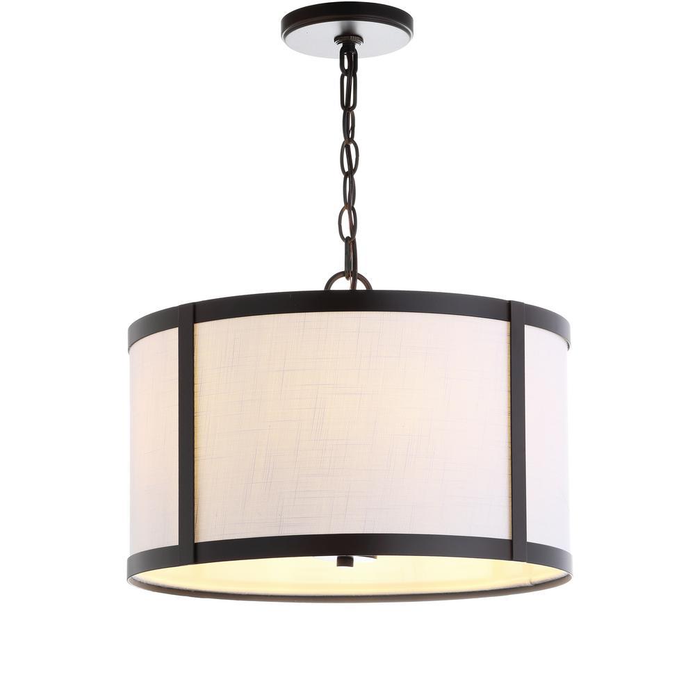 Thatcher 17 in. 4-Light Metal LED Pendant-Light, Oil Rubbed Bronze/White