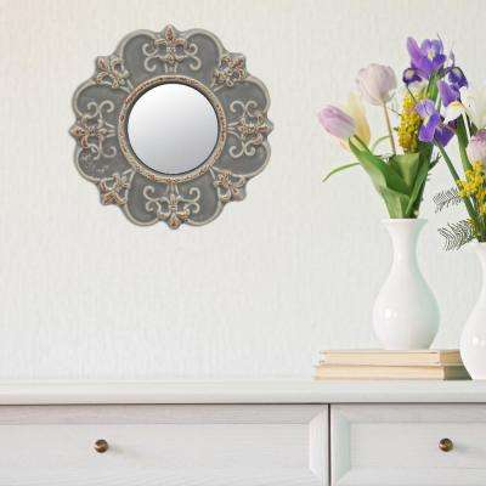 8 in. x 8 in. Matte Gray Ceramic Wall Mirror