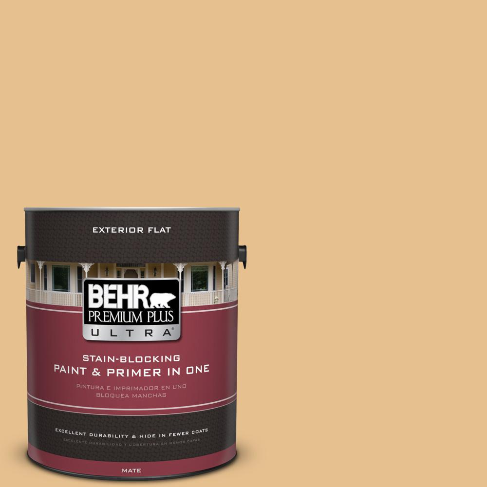 1 gal. #T17-02 Gold Hearted Flat Exterior Paint