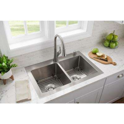 All-in-One Tight Radius Stainless Steel 33 in. 18-Gauge 2-Hole Double Bowl Dual Mount Kitchen Sink with Pull Down Faucet