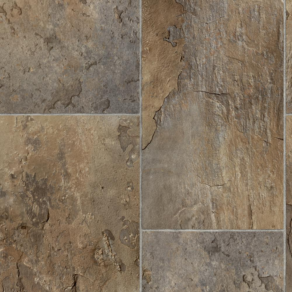 Trafficmaster rectangular offset slate brown grey 13 2 ft for Sheet vinyl flooring