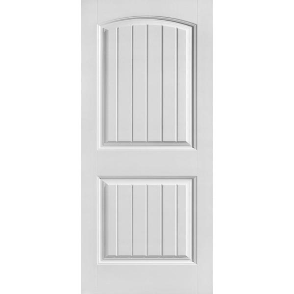 36 in. x 80 in. Cheyenne Smooth 2-Panel Camber Top Plank Hollow Core Primed Composite Interior Door Slab