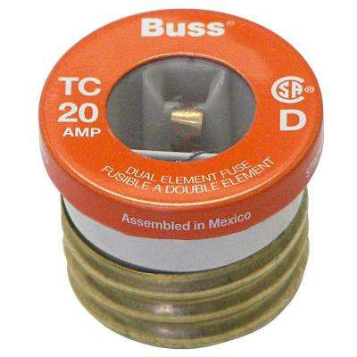 T Series 20 Amp Carded Plug Fuses (2-Pack)
