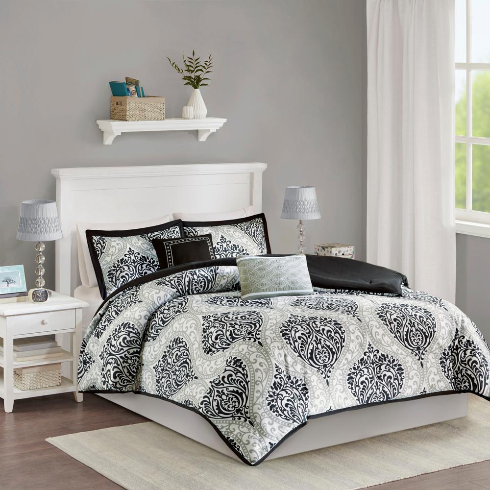 Sabrina 5-Piece Black Full/Queen Damask Comforter Set