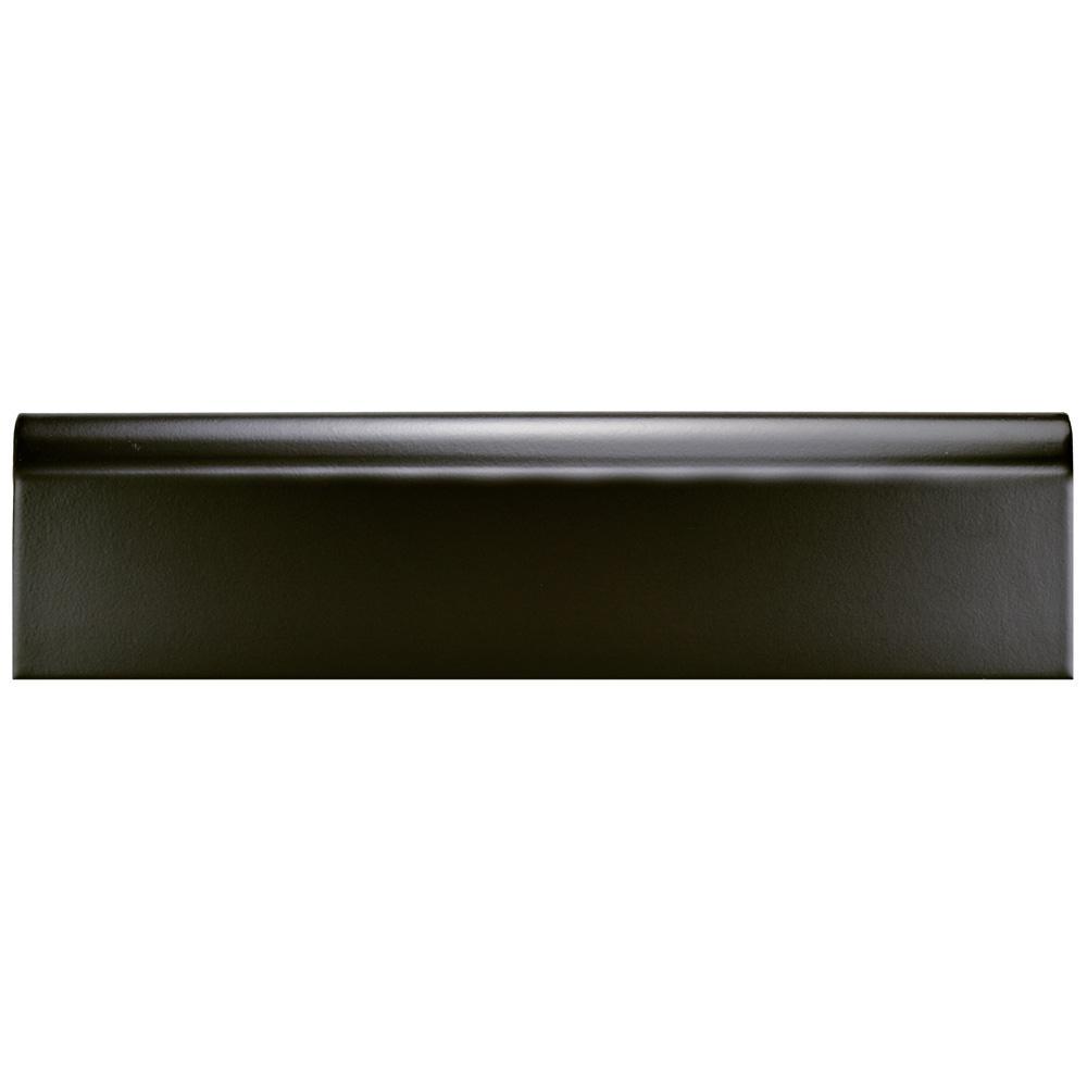 Battiscopa Matte Black 3-1/4 in. x 12-3/8 in. Ceramic Wall Trim Tile
