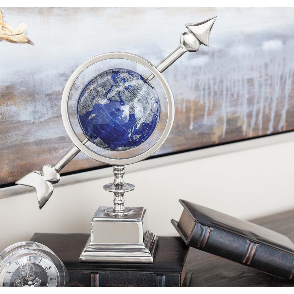 14 in. Modern Blue Aluminum and Plastic Decorative Globe