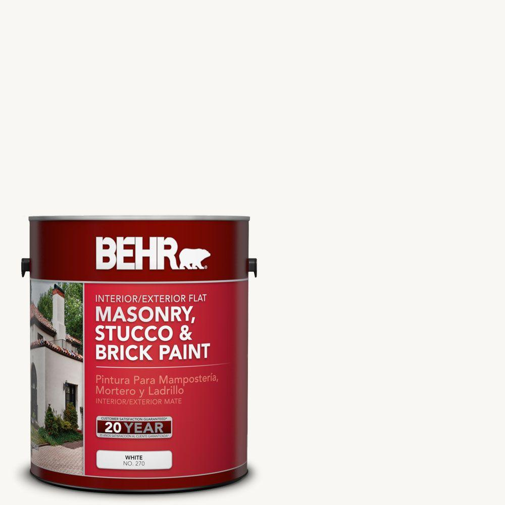 1 gal. #MS-31 White Flat Masonry, Stucco and Brick Interior/Exterior Paint