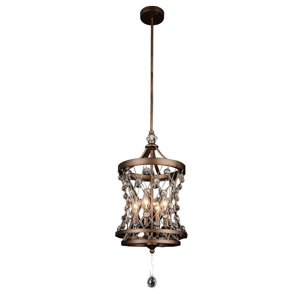Tieda 4-Light Speckled Bronze Chandelier
