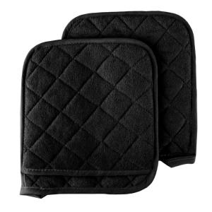 Quilted Cotton Black Oversized Heat Resistant Pot Holder Set (2-Pack)