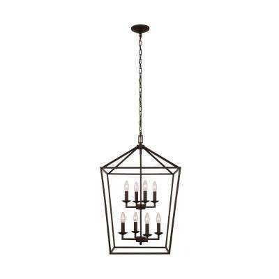 Weyburn 8-Light Bronze Caged Chandelier